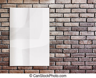 Template- White crumpled Poster on grunge brick wall and...