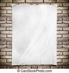 Template-, branca, Amarrotado, Retângulo, cartaz,...