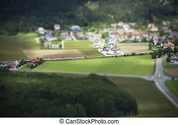 Tilt Shift Aerial View of Agricultural Fields