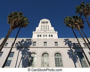 Palm Trees at City Hall - Palm trees frame the historic Los...