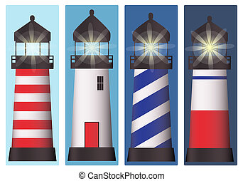 Lighthouse set - A set of four lighthouses at different...