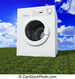clean the world - fine 3d washing machine with blue cloudy...