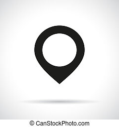 Map pointer icon. Black flat icon with shadow.