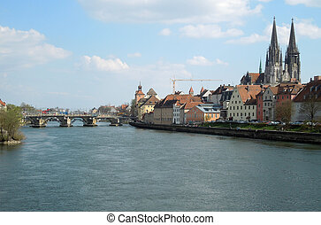 Regensburg - historic city in Bavaria (Germany) named...