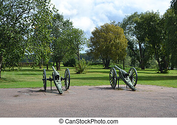 Antique cannon in Lappeenranta at summer, Finland.