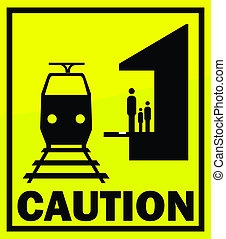 Caution - train entering on yellow background