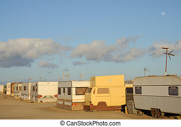 Trailer park on Canary Island Fuerteventura, Spain