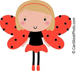 Beautiful Ladybug girl with red dotted wings isolated on white