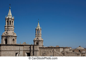 Arequipa Cathedral - Twin towers of the main cathedral in...