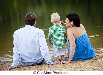 Family by the lake