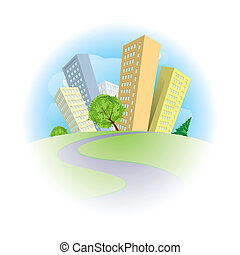 Abstract city on a green hill