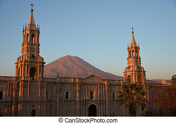 Arequipa Cathedral at Dusk - Arequipa Cathedral at dusk with...