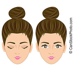 Beautiful women face vector on white background