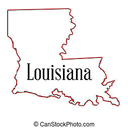 Louisiana - State map outline of Louisiana over a white...