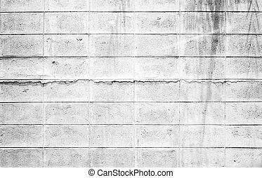 Monotone - Grunge,Crack White Brick block wall...