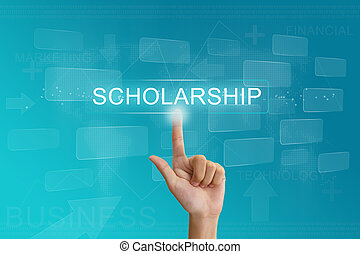 hand press on scholarship button on touch screen - hand...