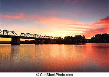 spettacolare,  nepan, sopra,  penrith, tramonto, fiume