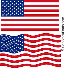 Flat and waving American Flag Vector illustration