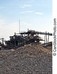 conveyor - delivery of building rubble by a conveyor belt...