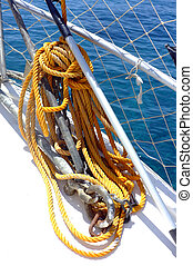 Yellow rope on the boat deck