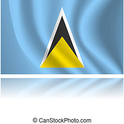 Flag of country - Saint Lucia flag with shadow in the wind...