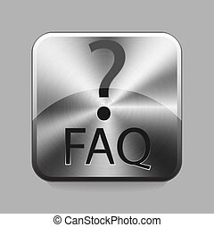 Chrome button - faq chrome or metal button or icon vector...