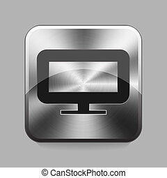 Chrome button - Monitor chrome or metal button or icon...