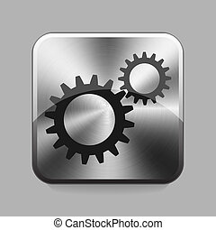 Chrome button - Cogwheel chrome or metal button or icon...