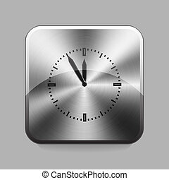 Chrome button - Clock chrome or metal button or icon vector...
