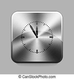 Chrome button - Clock chrome or metal button or icon vector...