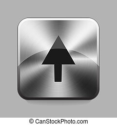 Chrome button - Arrow chrome or metal button or icon vector...