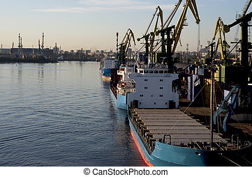 Freighters in Russina Dock - Freighters in a russian loading...