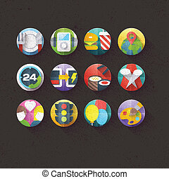 Textured Flat Icons Set 5