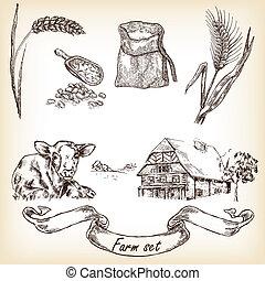 Farm set. Hand drawn illustration of cow, house, sack,...