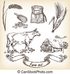 Farm set. Hand drawn illustration of cow, house, sack,...