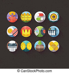Textured Flat Icons Set 6 - Textured Flat Icons for mobile...