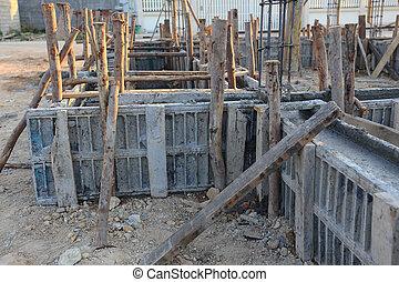 construction house, reinforcement metal framework