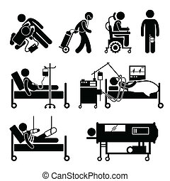 Life Support Equipments Cliparts - A set of human pictogram...