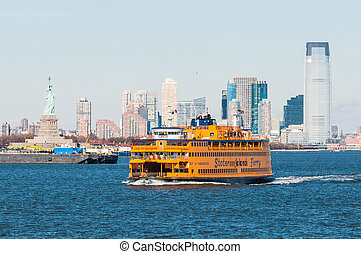 New York ferry with Statue of Liberty - New York City, USA -...