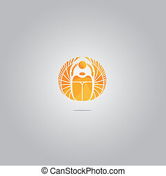 Vector gold scarab logo - Vector gold scarab sign. Canbe...