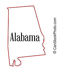 Alabama - State map outline of Alabama over a white...