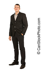 Middle Age Man in Black Business Attire - Smiling Middle Age...