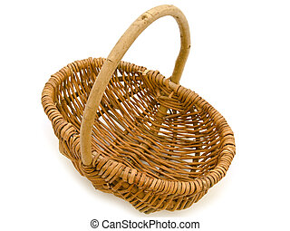 Wicker basket - Small wicker basket over the white...