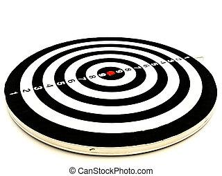 dartboard - black and white dartboard over the white...