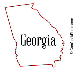Georgia - State map outline of Georgia over a white...
