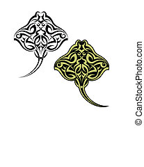 Tattoo Stingray Design Vector Art