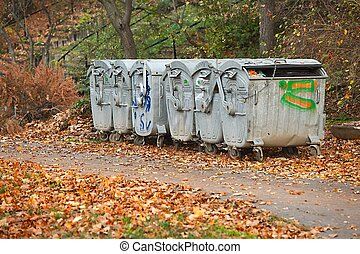 Garbage Containers - Dumpsters by the walking path