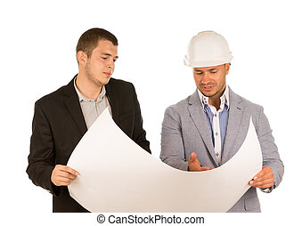 Client and Engineer Looking at Building Blueprint