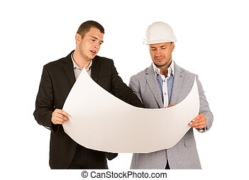 Male Engineer Showing Blueprint to Client - Male Engineer on...