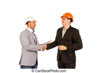 Happy Client and Engineer Shaking Hands